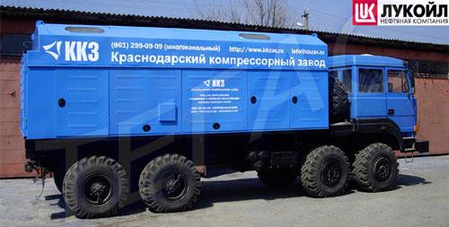 Станина четырехрядного компрессора серии 4М2,5 с логотипом ООО ККЗ